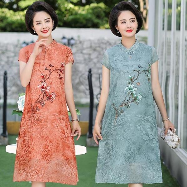 媽媽旗袍媽媽闊太太洋氣過膝洋裝中年女裝夏裝漢服中老年中國風旗袍裙子 漫步雲端