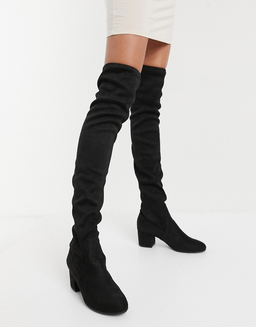 Steve Madden Isaac heeled over the knee boot in black