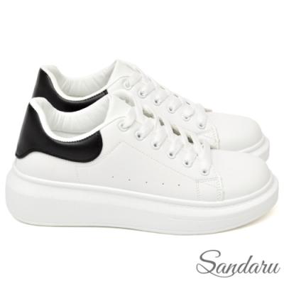 山打努SANDARU-防磨腳厚底配色小白鞋-黑