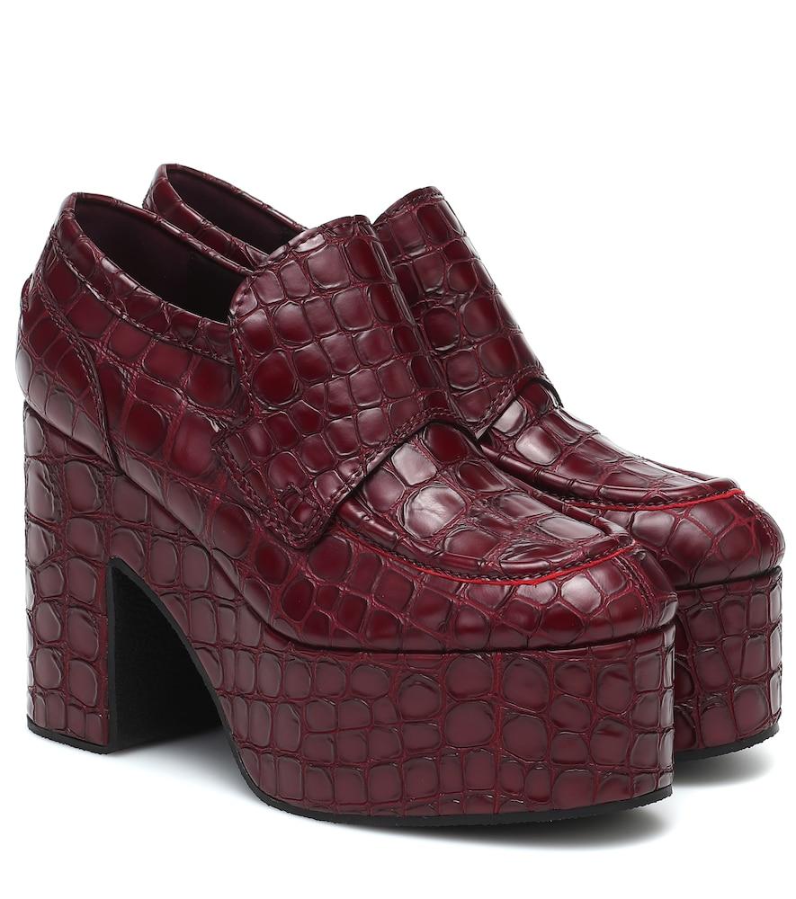 Platform croc-effect leather loafers
