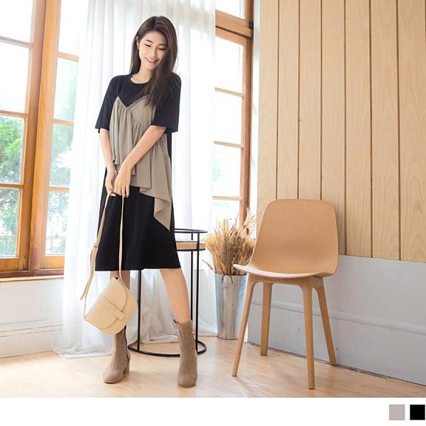 《DA7972-》假兩件拼接蕾絲荷葉短袖及膝洋裝 OB嚴選