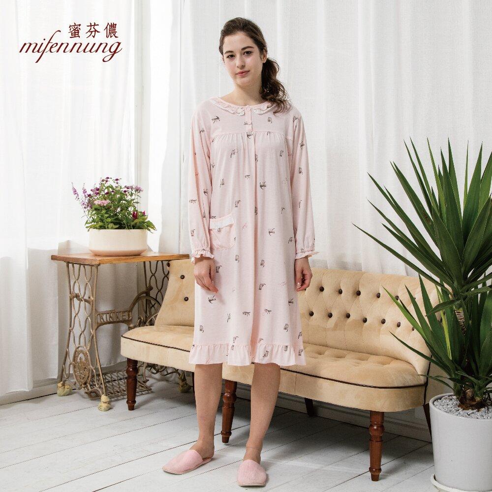 MFN 蜜芬儂 貓咪印花長袖開扣洋裝睡衣