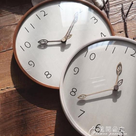 掛鐘實木時鐘客廳超靜音鐘表原木質掛鐘創意大氣潮流北歐現代簡約