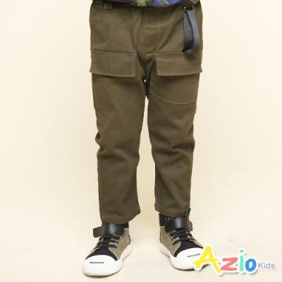Azio Kids 男童 長褲 褲頭造型彈性鬆緊單口袋休閒長褲(軍綠)
