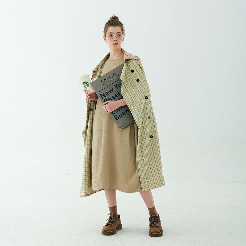 秋裝長外套|復古|學院風|拼接格子|雙色插肩雙排扣|大衣風衣|洋裝