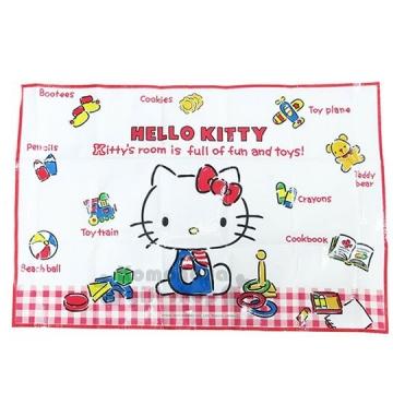 小禮堂 Hello Kitty 野餐墊《S.紅白格.經典藍吊帶褲.小熊.90x60cm》單人用