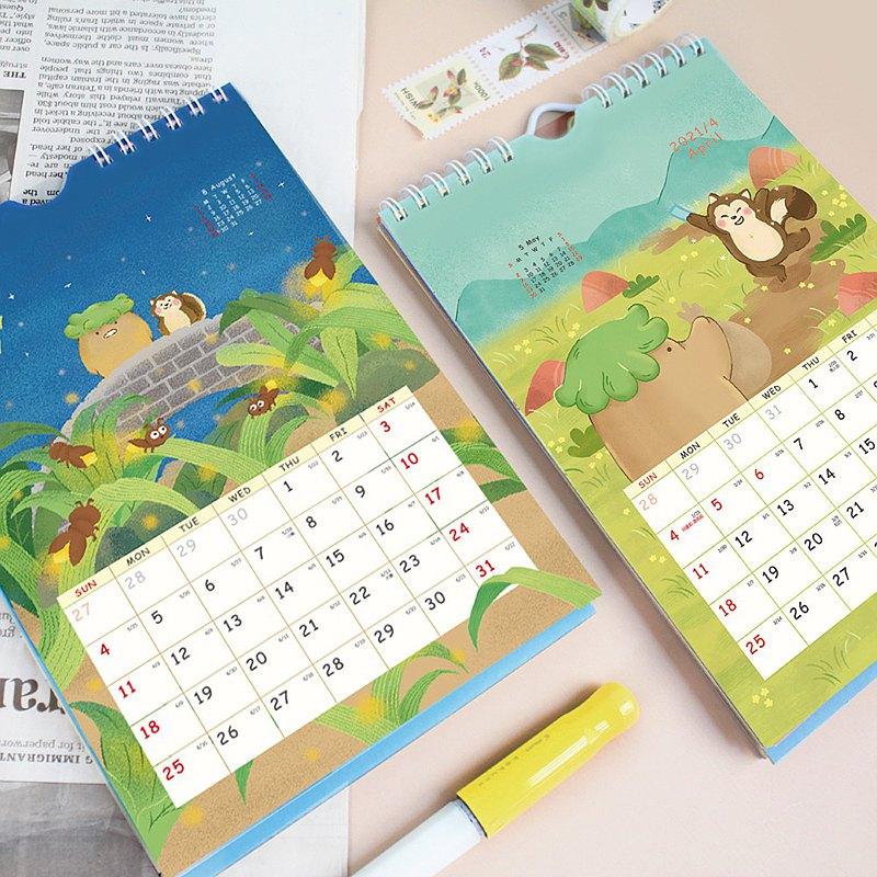 Chuyu 2021年可掛式插畫三角月曆/桌曆/掛曆/行事曆