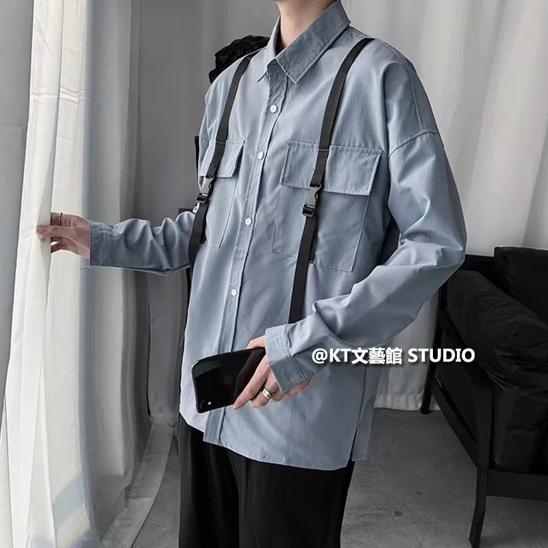 潮牌襯衫男 M-2XL 飄帶 雙口袋 拼接工裝襯衣 寬鬆 百搭 休閒素面襯衫 春夏裝 韓版帥氣 潮流長袖襯衫