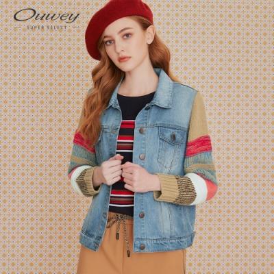 OUWEY歐薇 亮麗撞色針織拼接牛仔外套(藍)