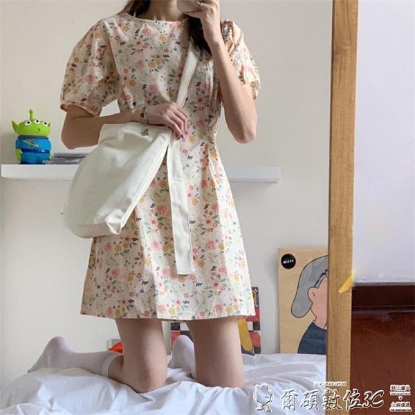 碎花連身裙 法式小眾復古泡泡袖綁帶碎花連身裙女夏季短袖桔梗初戀 爾碩 交換禮物