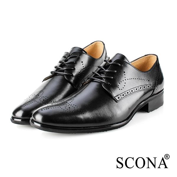 SCONA 蘇格南 全真皮 義式雕花綁帶紳士鞋 黑色 0866-1