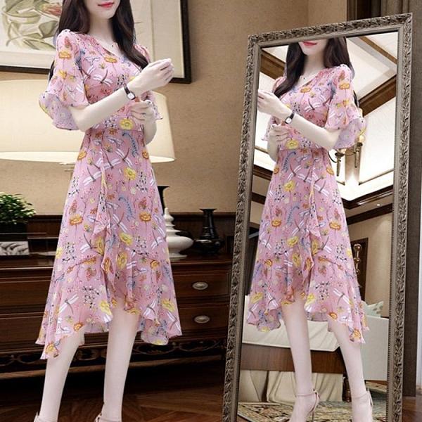 碎花雪紡連身裙流行女裝2021夏季新款氣質韓版修身顯瘦中長款裙子 貝芙莉