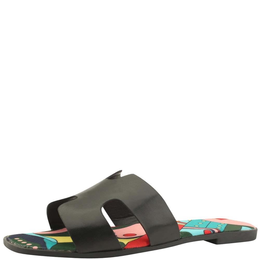 韓國空運 - H Feminine Flat Mule Slippers Black 涼鞋