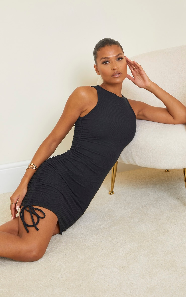 Black Crinkle Rib Sleeveless Ruched Racer Neck Bodycon Dress