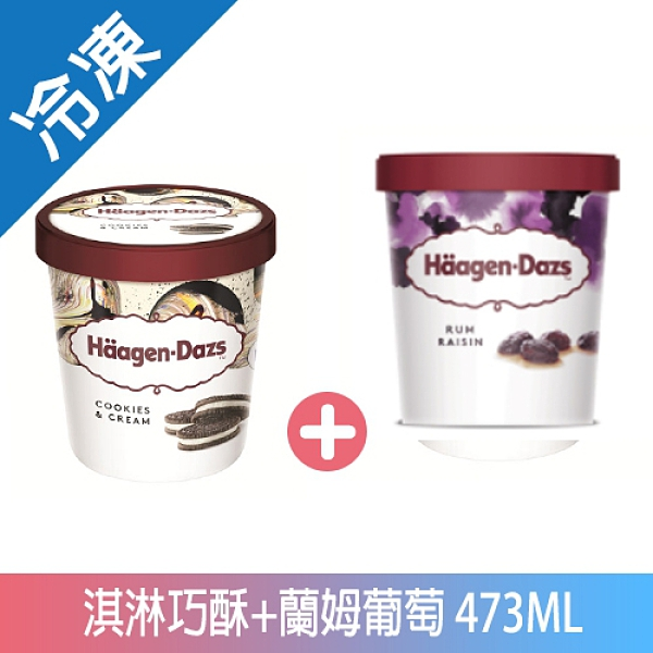哈根達斯淇淋巧酥+藍姆葡萄冰淇淋473ML【愛買冷凍】