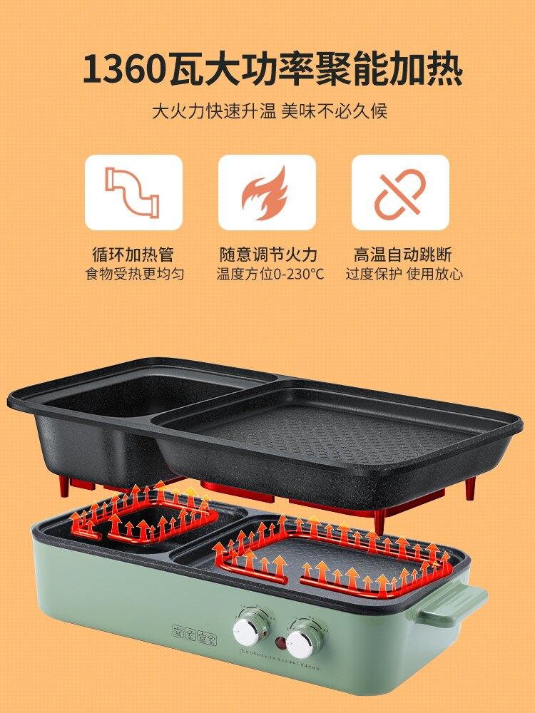 兩用多功能烤魚盤鍋電烤盤小型燒烤爐壹體鍋烤肉機 慶中元 99購物節