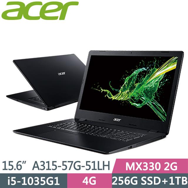 "Acer Aspire A315-57G-51LH 黑(i5-1035G1/4G/1T+256G SSD/MX330 2G/15.6"" FHD/Win10)窄邊筆電"
