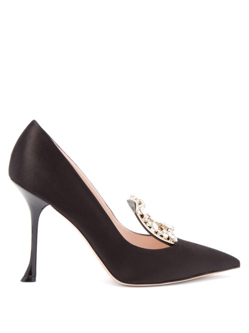 Roger Vivier - Rv Broche Crystal-embellished Satin Pumps - Womens - Black