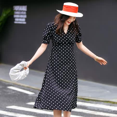 【nata】現貨-黑色交叉綁帶波點洋裝(XL)