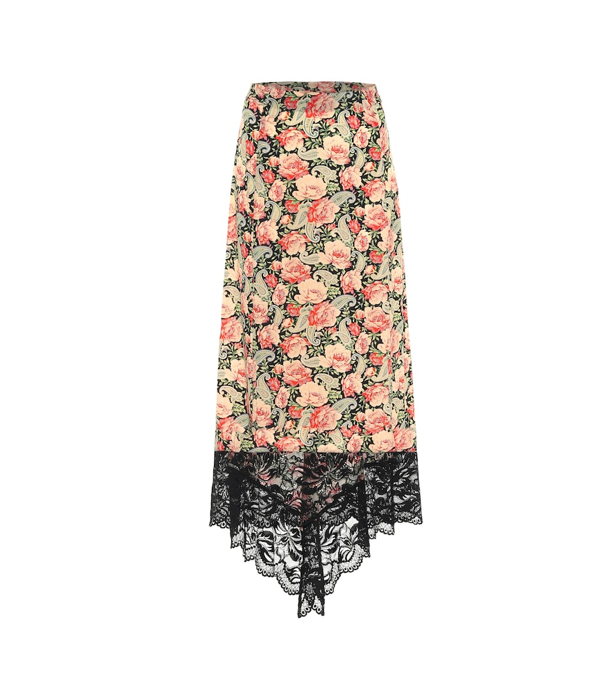Floral stretch-jersey midi skirt