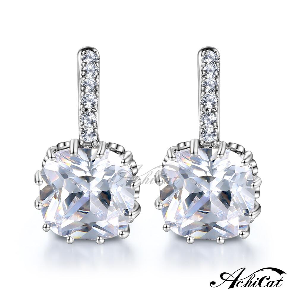 achicat 耳環 正白k 閃耀晶鑽 女耳環 易扣耳環 耳針式耳環 銀色款 一對價格 g7012