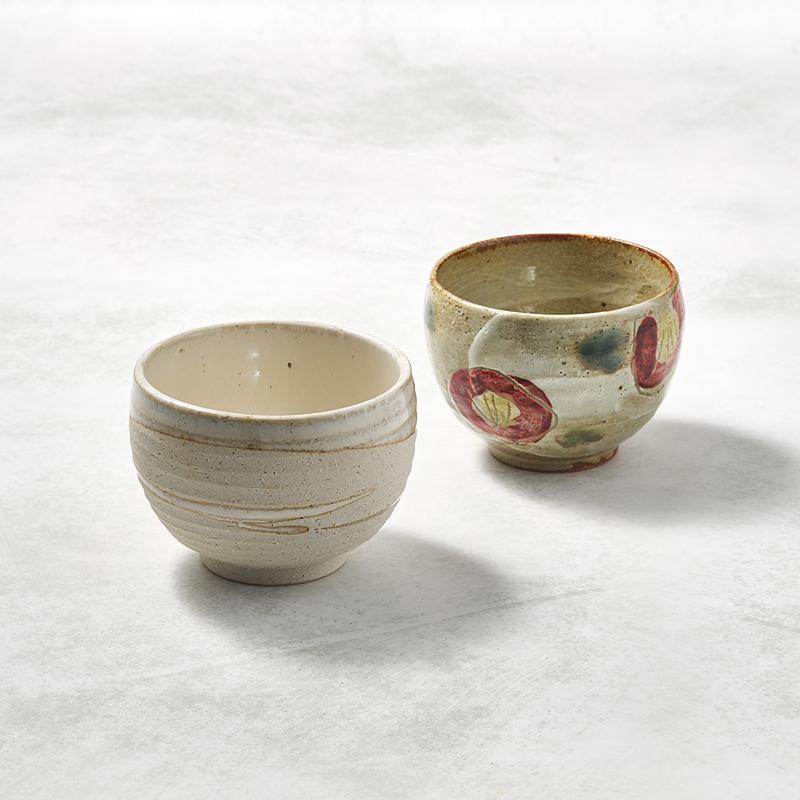 日本美濃燒 - 手感和風茶杯 - 山茶對杯組(2件式)