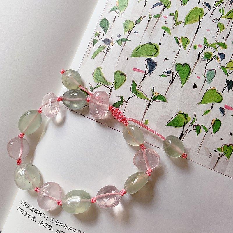 孤品 蓮葉戲。葡萄石+粉水晶手鏈 禮物 桃花 好人緣 轉運手繩兒。