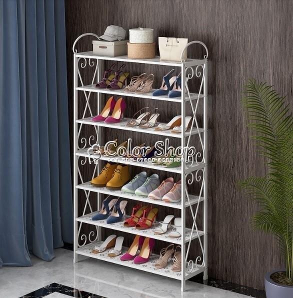 [店家推薦]四層放在家用鞋柜多層鐵藝鞋架簡易鐵架疊加隔層置物陽臺門口金屬