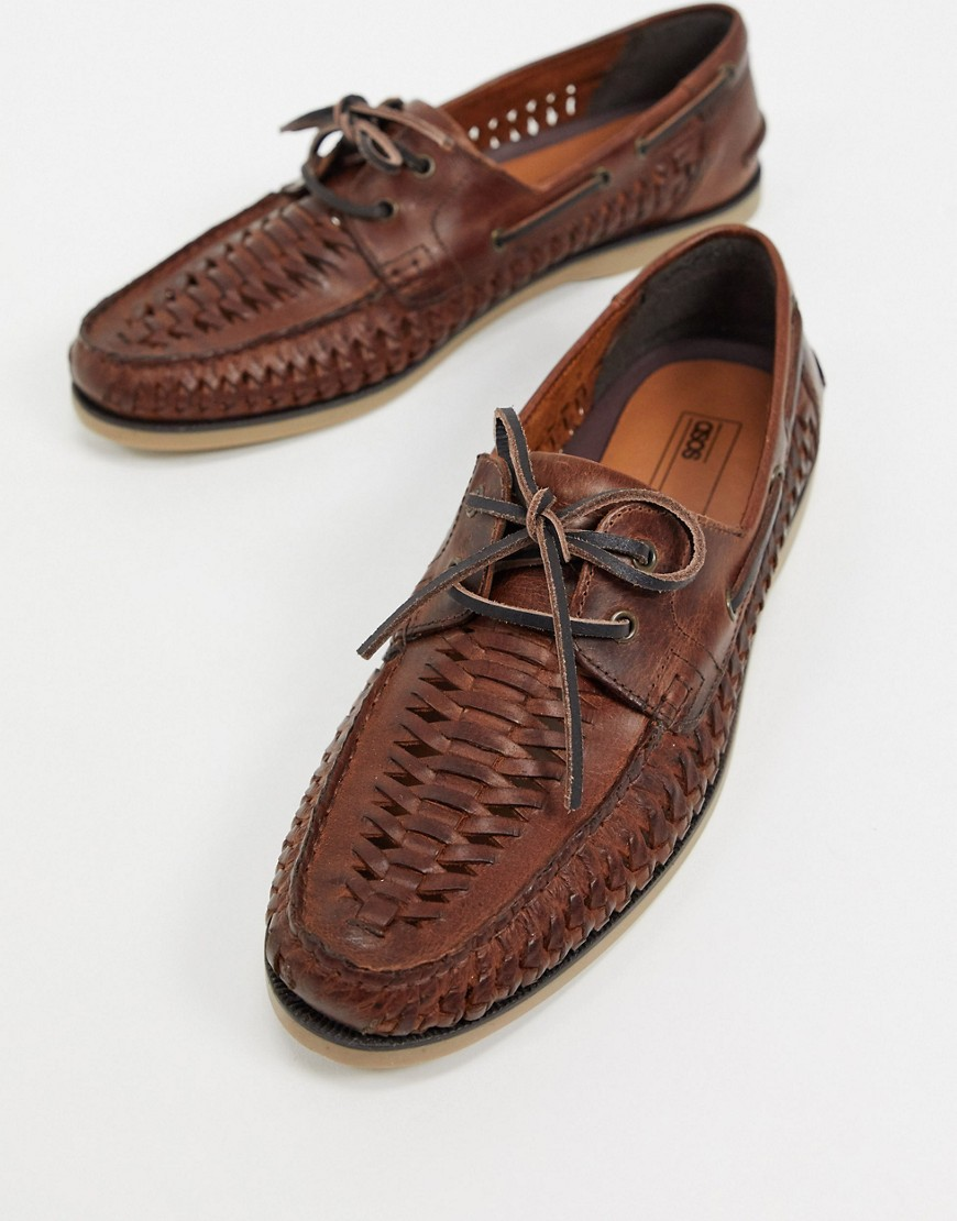 ASOS DESIGN woven boat shoes in tan leather with gum sole-Brown