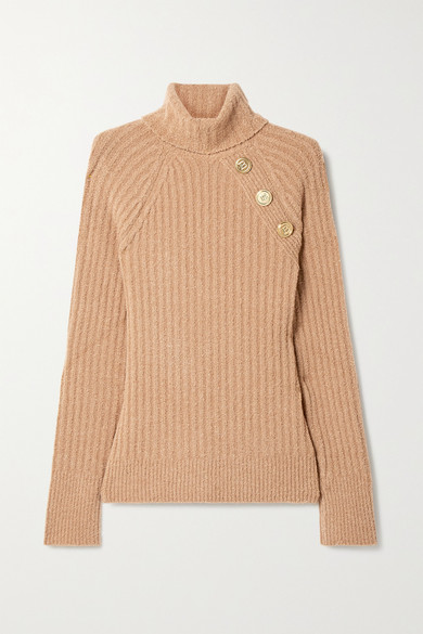 Balmain - 纽扣缀饰罗纹羊毛混纺圈圈呢高领毛衣 - 驼色 - FR34