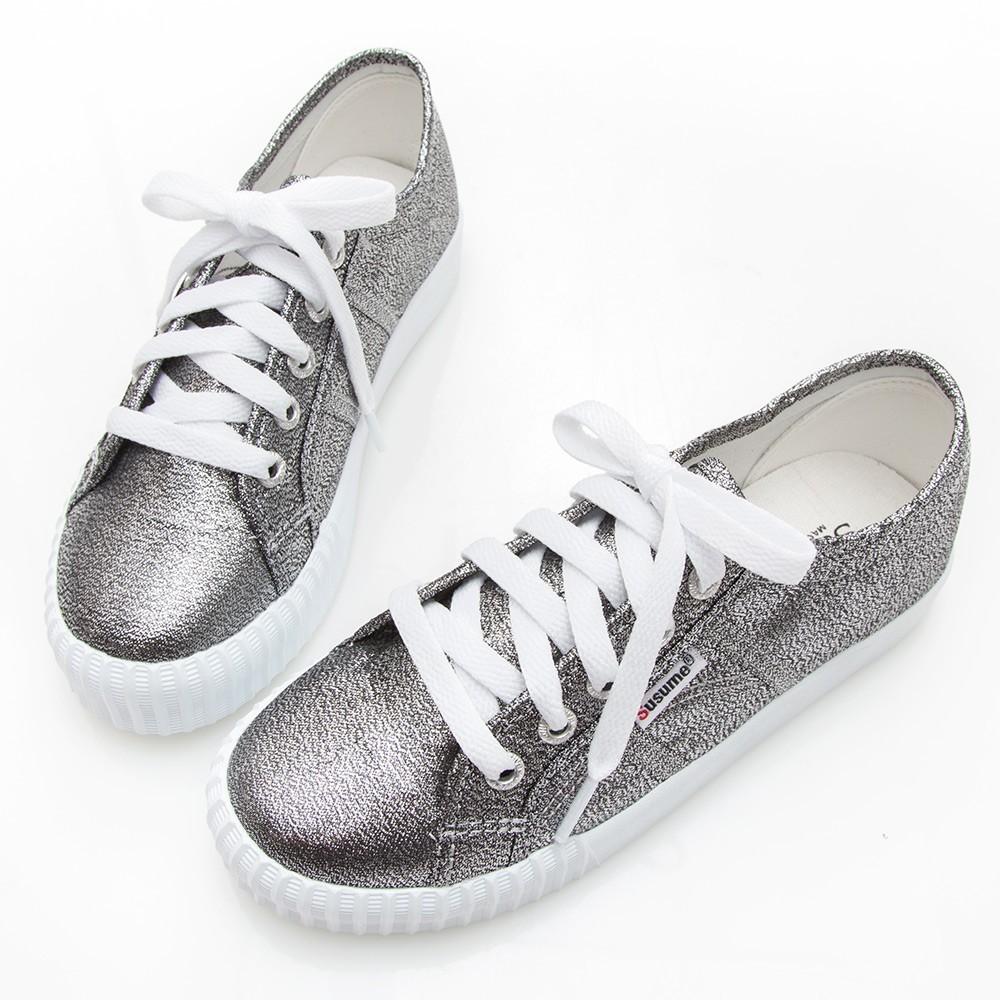 Camille's 韓國空運-正韓製-綁帶閃布白底休閒鞋-銀灰