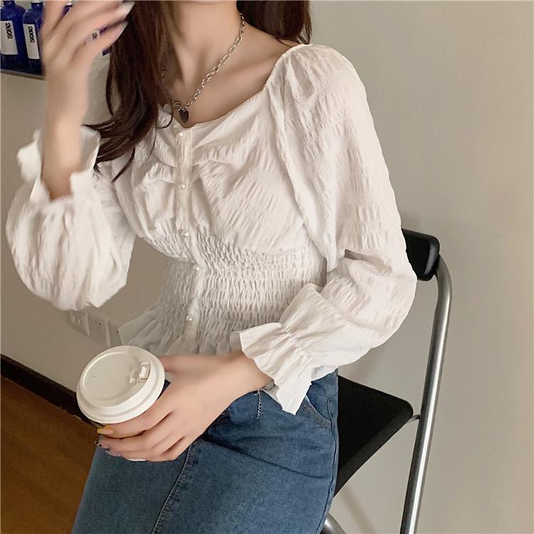 【免運】設計感小眾襯衣女修身荷葉邊上衣 秋季收腰顯瘦長袖襯衫女裝