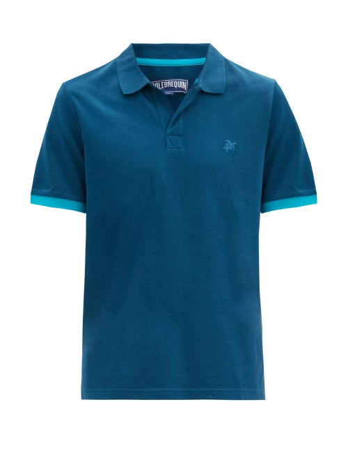 Vilebrequin - Palatin Logo-embroidered Cotton Polo Shirt - Mens - Blue