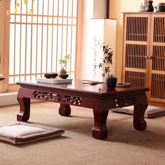 和室桌榻榻米實木飄窗桌歐式簡約炕桌陽臺小茶幾雕花和室幾日式地臺矮桌 LX