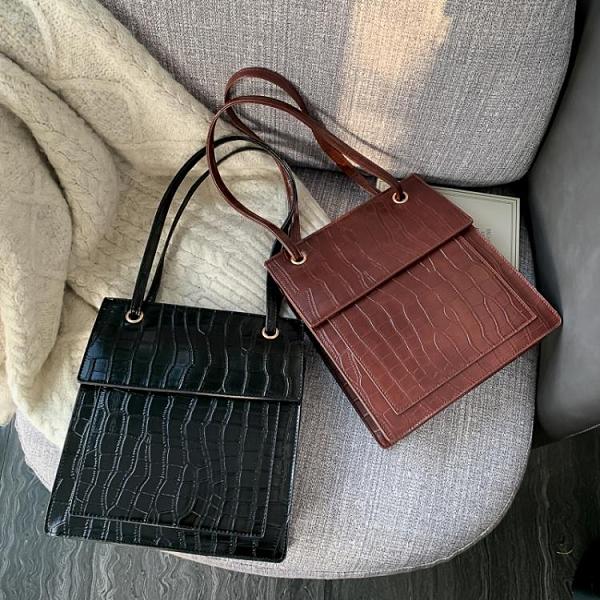 特賣 網紅小包包女新款時尚鱷魚紋小方包百搭洋氣大容量單肩斜挎包