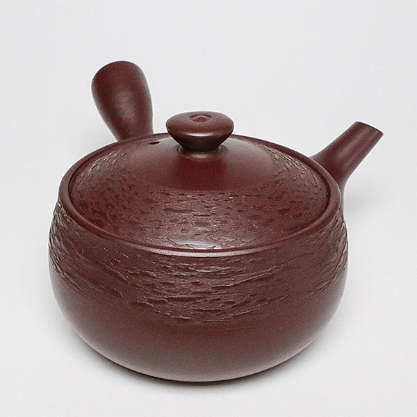 日本陶壺【萬古燒】平形松皮 橫手急須0.25L 泡茶壺