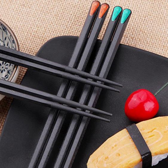 日式尖頭壽司筷子一人一雙5合金快子防滑家用家庭套裝10分色區分