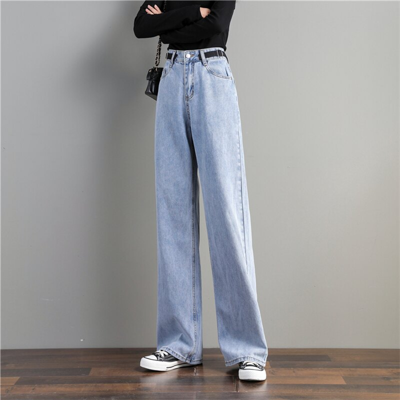 高腰垂感寬鬆直筒新款拖地闊腿牛仔褲女年