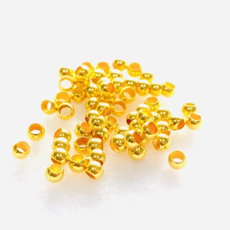 黃金18K金 2mm 3mm金珠 4個以上起訂 黃金戒指 材料 黃金手環 DIY 串珠好幫手 金喜飛來