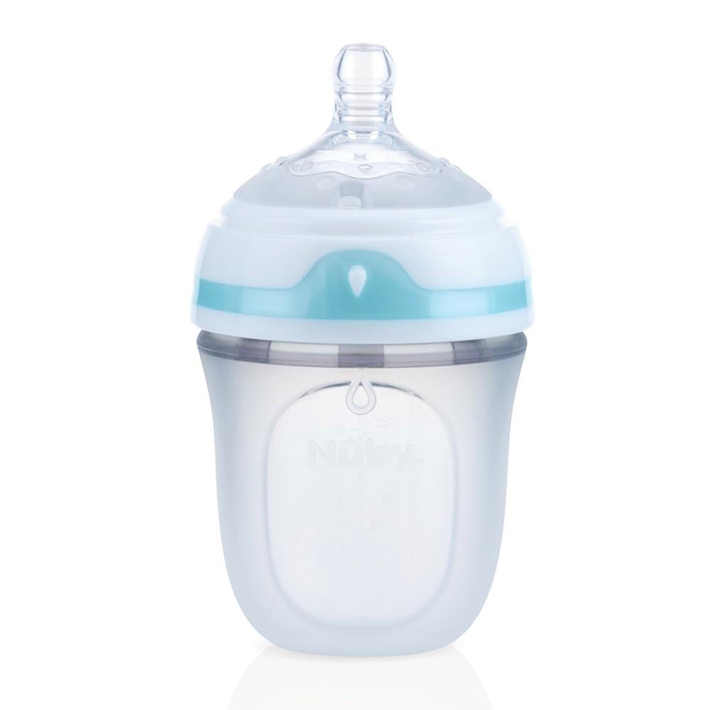 Nuby Comfort 寬口徑防脹氣矽膠奶瓶 150ml (附慢流量奶嘴-圓孔)