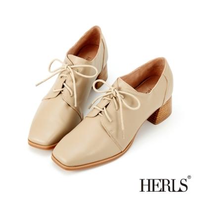 HERLS牛津鞋-全真皮素面方頭粗跟牛津鞋-奶茶色