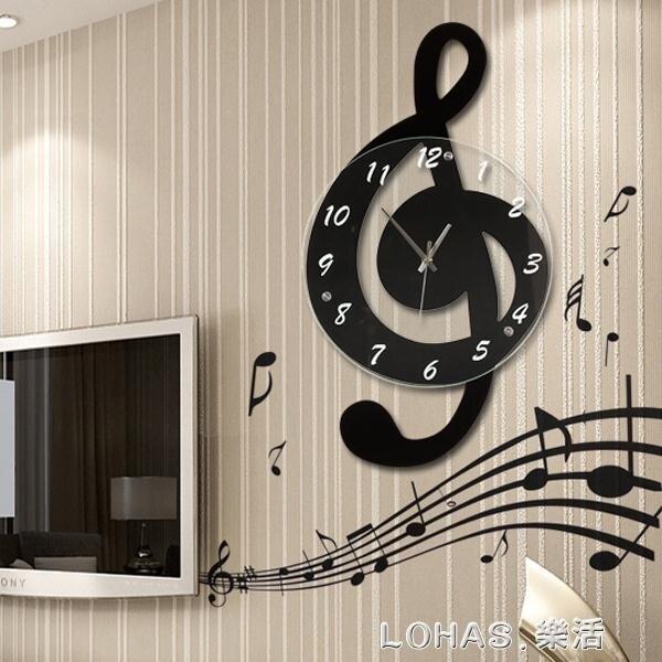 中秋 音樂音符鐘表掛鐘客廳創意個性簡約臥室掛表靜音裝飾家用石英時鐘