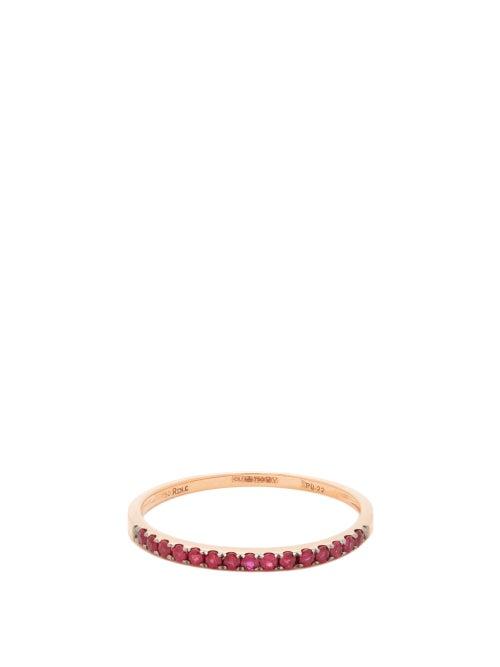 Rosa De La Cruz - Ruby & 18kt Rose Gold Eternity Ring - Womens - Red