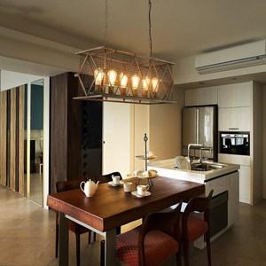 【H&R安室家】78x29x30cm大號長方鐵網吊燈