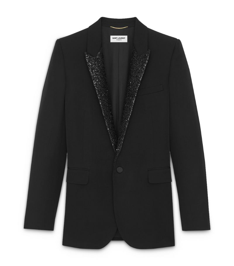 Saint Laurent Glitter-Detail Evening Jacket