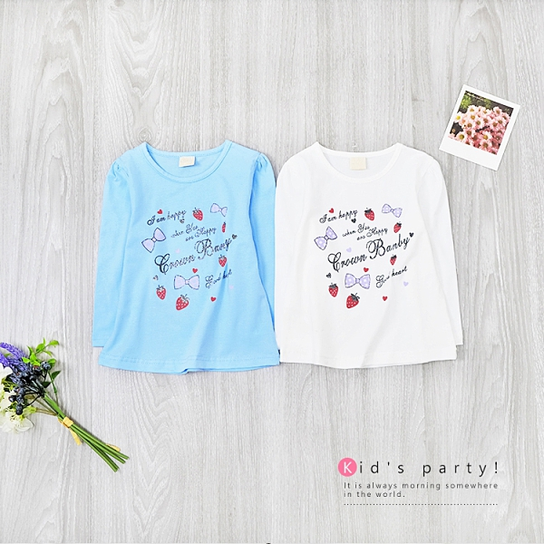 藍色 草莓格子蝴蝶結長袖上衣 薄長袖 棉質 女童上衣 童裝 女童裝 女童長袖 彈性 秋冬 草莓