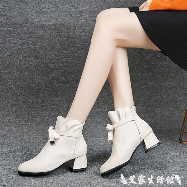 裸靴 秋冬新款粗跟中跟蝴蝶結小短靴女時尚百搭單靴馬丁靴裸靴媽媽 艾家