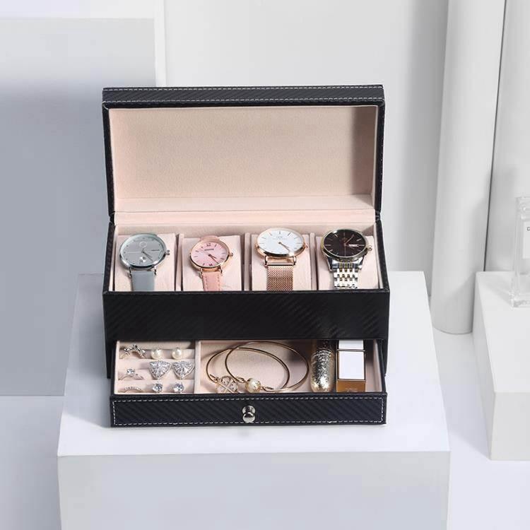 手錶盒 歐式碳纖皮革高檔手錶盒子 抽屜式佛珠手鏈收納盒 手錶展示首飾盒