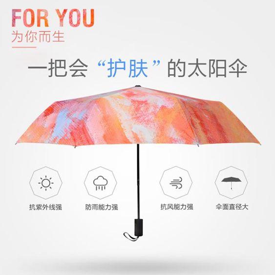木耳花遮陽傘防紫外線全自動雨傘女折疊傘晴雨傘黑膠防曬傘太陽傘-