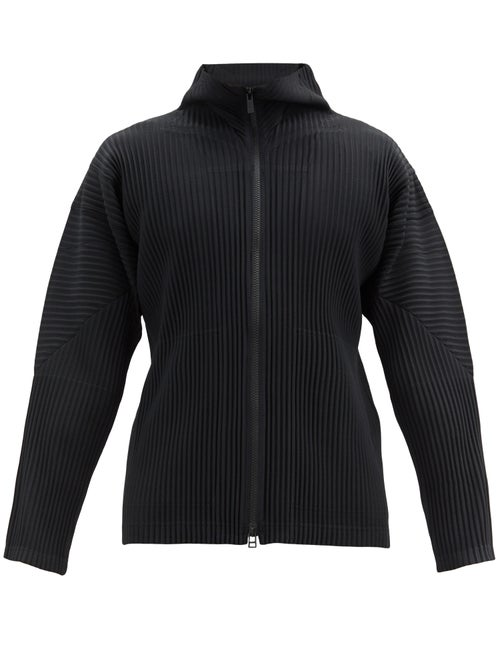 Homme Plissé Issey Miyake - Zipped Pleated-jersey Jacket - Mens - Black